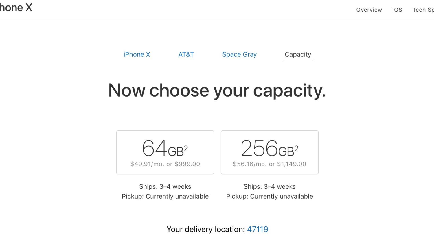 delivery time iphone x