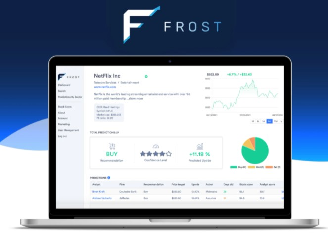 Frost  One Time Purchase of $59.00 $2700.00  Most accurate analysts for any stock   Frost recommended action for any stock   Frost stock suggestions across entire economy   Frost stock suggestions broken down by sector   Analyst predictions broken down by sector   Track your portfolio performance in app   Custom news and predictions for your portfolio   55k+ analyst predictions, reanalyzed every day   3700+ companies tracked   2000+ analysts